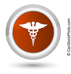 Medical icon prime brown round button