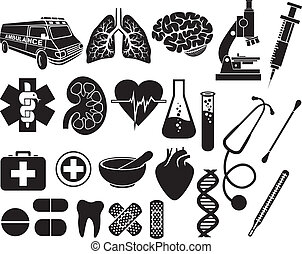 medical icon set (kidney, human lungs, pharmacy snake symbol...