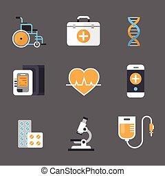 Medical Icon Set Medicine Equipment Sign Hospital Treatment Concept
