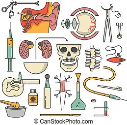 Medical icon set, outline vector illustration. Ear, scissors, eye, injection, brain, skull, bone, wound, tooth, ointment, operation, scalpel, tablet, drop counter