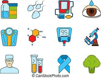 Medical icon set. Various symbols of diabetic