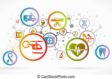 Medical icon set vector abstract background