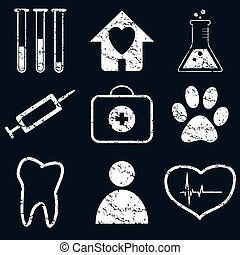 Medical icon set, white grunge