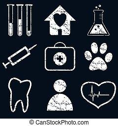 Medical icon set, white grunge