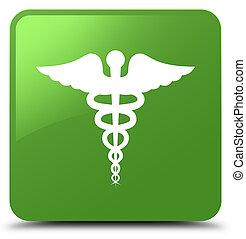 Medical icon soft green square button