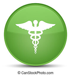 Medical icon special soft green round button