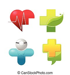 Medical Icon Symbol Logo Set Vector