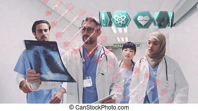 Medical icons and DNA structure moving against group of doctors working in hospital