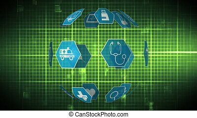 Digital animation of medical icons arranged spherically rotating and background of square patterns with heart rate