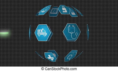 Digital animation of medical icons arranged spherically rotating while foreground shows a heart rate