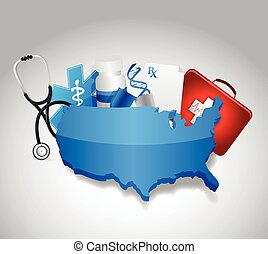 medical icons around a us map