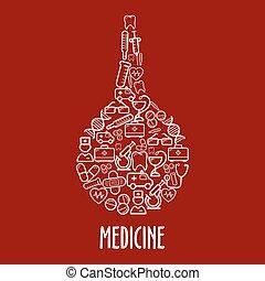 Medical icons arrange in a shape of enema