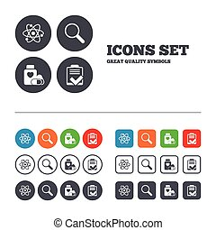 Medical icons. Atom, magnifier glass, checklist.