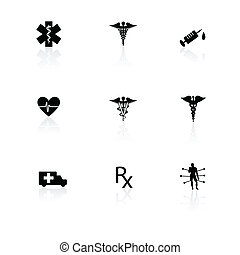 Medical icons black on white with reflections.