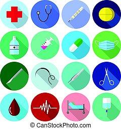 Medical Icons Color Flat Design