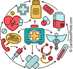 Medical icons concept - Medical emergency first aid health...