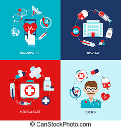 Medical icons flat set - Medical emergency first aid health ...