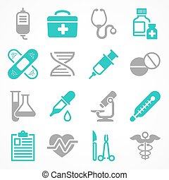 Medical icons in grey blue