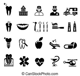 Medical icons on white background.