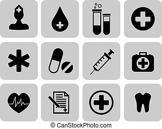 Medical icons set. First aid symbol. Vector illustration