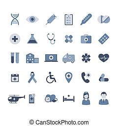 Medical icons set. Isolated on white. Vector