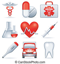 Set of 9 medical icons.