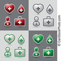 Medical icons - Set of medical icons isolated on light and...