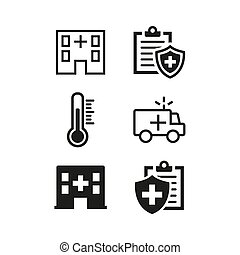 Medical icons set on white background.