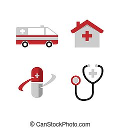 Medical icons set on white background vector image