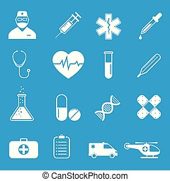 Medical icons set - simple flat design, vector