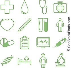 Medical icons set. Vector illustration in linear flat design