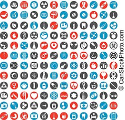 Medical icons set, vector set of 144 medical and medicine...