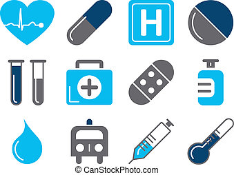 Vector illustration of 12 different medical icons, blue color scheme
