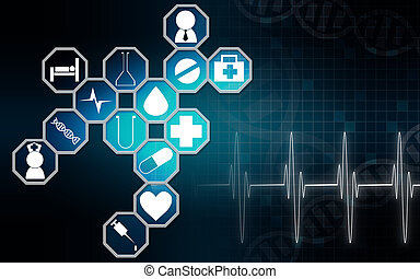 Medical icons with blue background