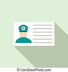 Medical ID icon, flat style