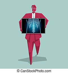 Medical imaging technology, chest disease. The background is blue.