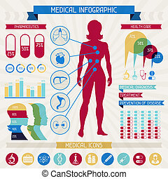 Medical infographic elements collection.