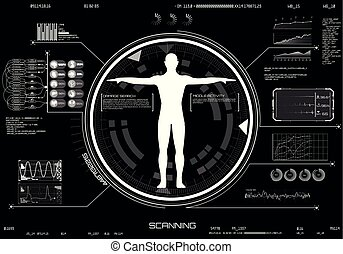 Medical infographic HUD UI. Concept of Body scanning. ...