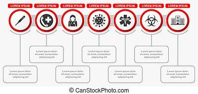 Medical infographic vector template, coronavirus pandemic web presentation, healthcare concept illustration