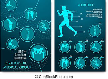 Medical infographic with orthopedic anatomy charts