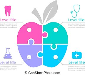 Medical infographics apple template