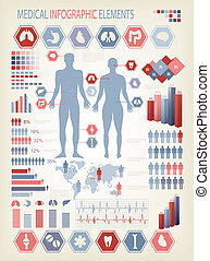 Medical infographics elements. Human body with internal ...