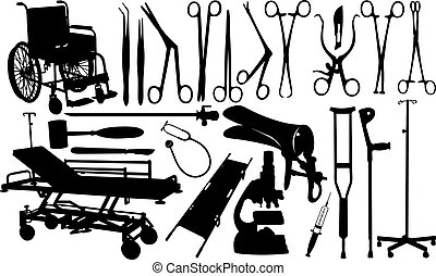 set of different medical utensils