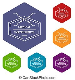 Medical instrument icons hexahedron - Medical instrument ...