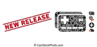 Medical Insurance Cards Mosaic and Distress New Release Stamp Seal with Lines
