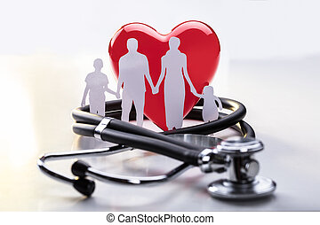 Family Cut-out And Stethoscope