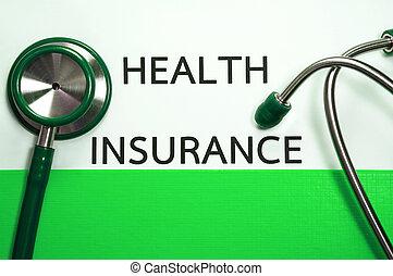 Medical insurance document in green folder