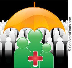 medical insurance - illustration of medically insured people...