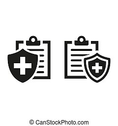 Medical insurance icons on white background.