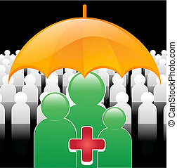illustration of medically insured people under an umbrella